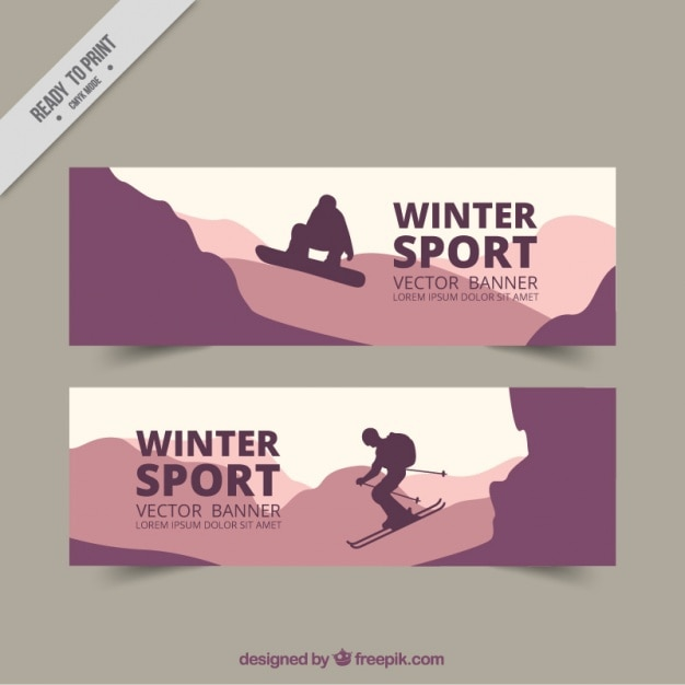 Winter sport banners in purple tones