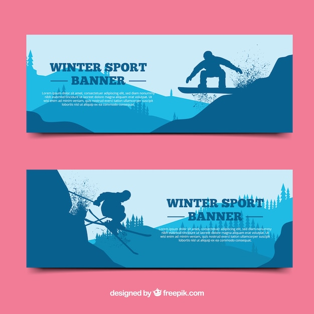 Winter sport banners with blue\ silhouette