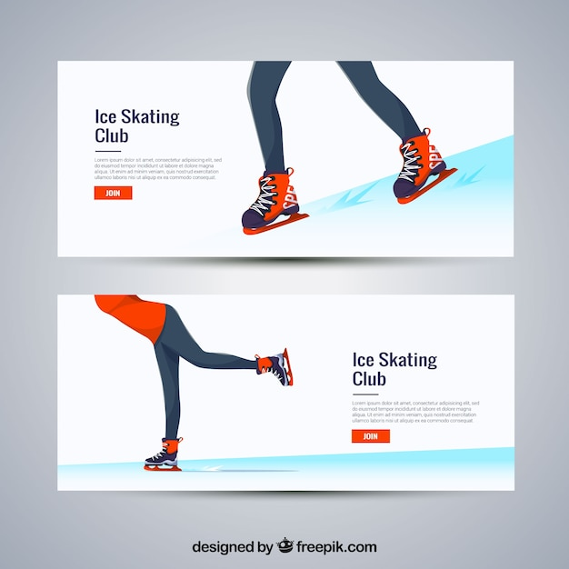 Winter sport banners with female ice\ skating