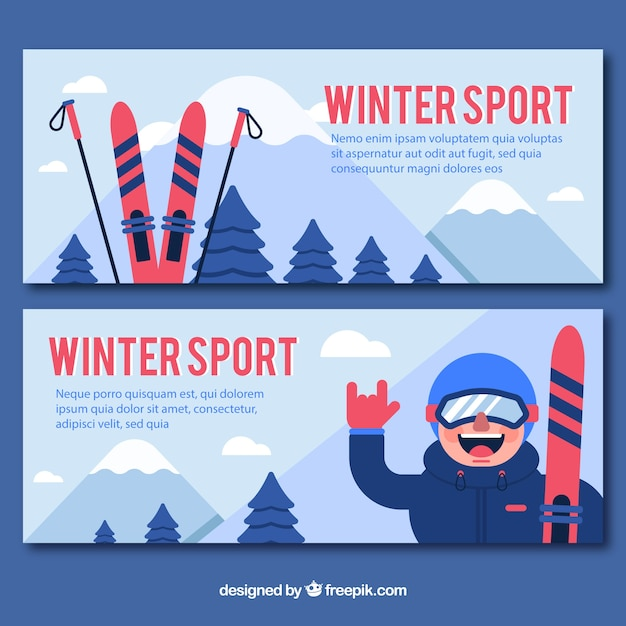 Winter sport banners with happy man