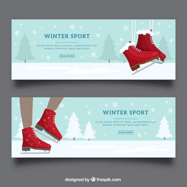 Winter sport banners with red ice skates
