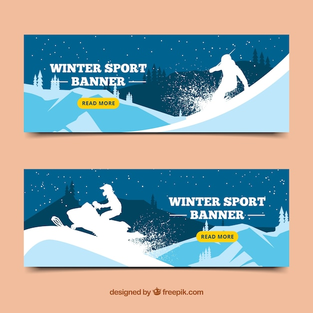Winter sport banners with silhouette of\ snowboarder and scooter