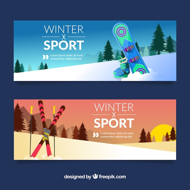 Winter sport banners with snowboard and\ sunset