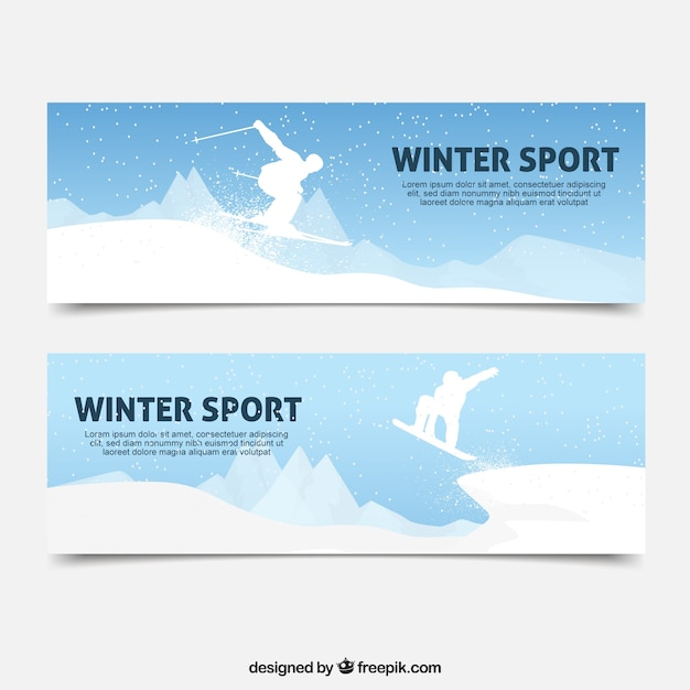 Winter sport banners with white\ silhouette