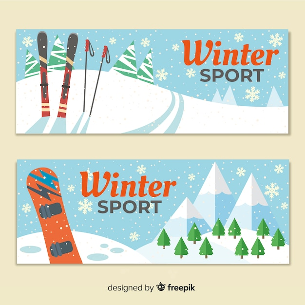 Winter sport banners Free Vector