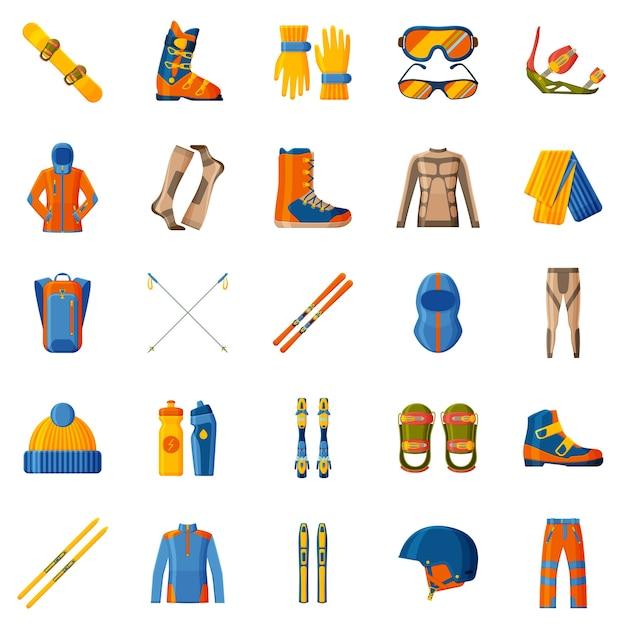Коллекция зимних видов спорта. набор с оборудованием, одеждой и обувью. лыжи и сноуборд. Premium векторы