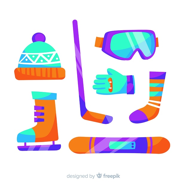 Winter sport equipment collection Free Vector