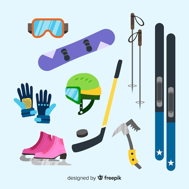 Winter sport equipment Free Vector
