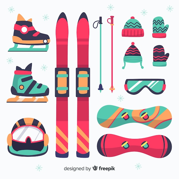 Winter sport equipment Premium Vector