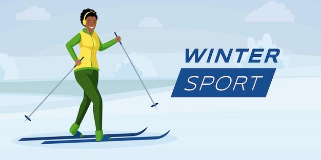 Winter sport flat color banner template Premium Vector