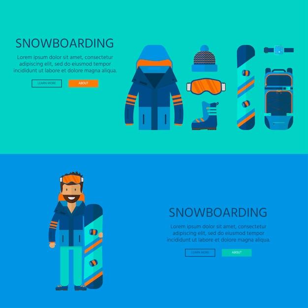 ウィンタースポーツアイコンコレクション。フラットスタイルのデザインで白い背景に分離されたスキーやスノーボードのセット機器。スキーリゾートの写真、山の活動、ベクトルイラストの要素。 Premiumベクター