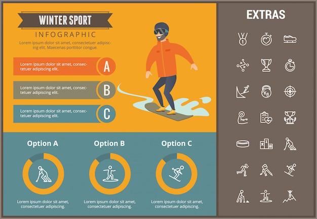 Winter sport infographic template, elements, icons Premium Vector