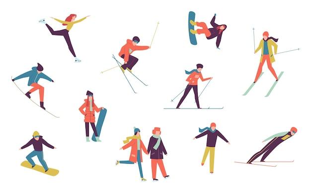 ウィンタースポーツの人々。アイススケーター、スノーボーダー、スキーヤーの孤立した要素を含みます。冬の極端な休日のスノーボード活動が設定されました Premiumベクター