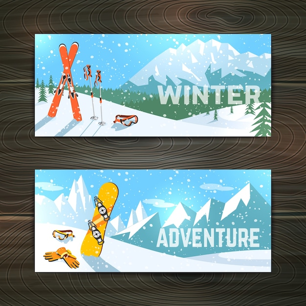 Winter sport tourism banners set Free Vector