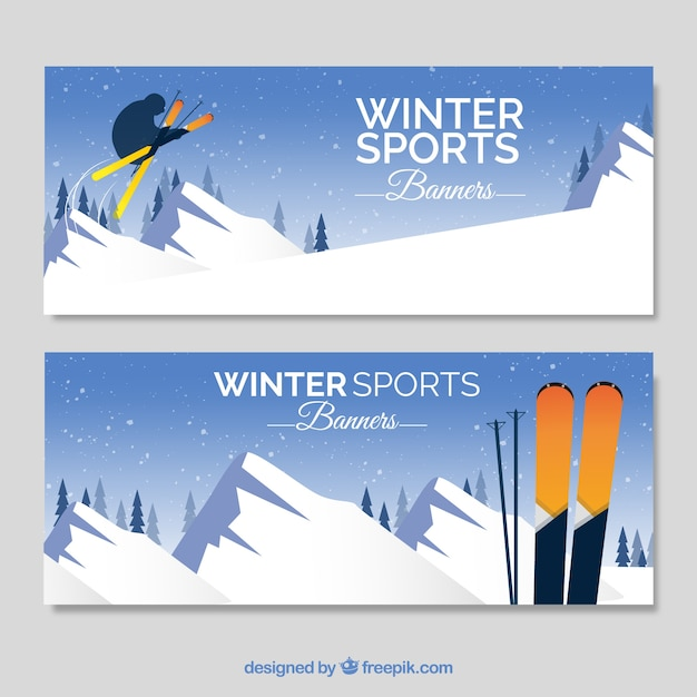 Winter sports banner collection
