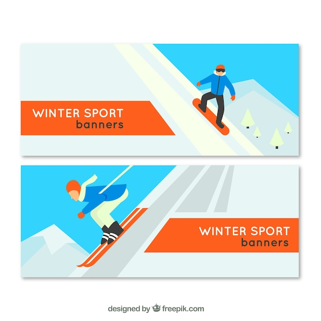Winter sports banners in flat design
