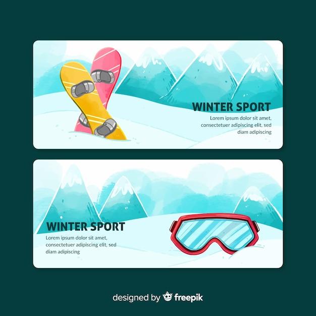 Зимние спортивные баннеры Бесплатные векторы
