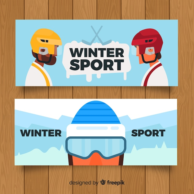 Winter sports banners Free Vector