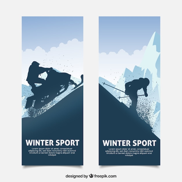 Winter sports concept banners with dark\ silhouette