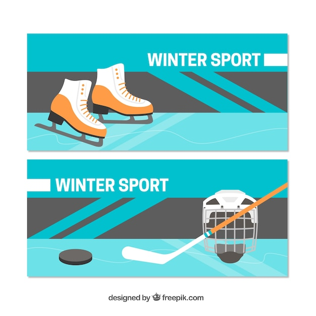 Winter sports concept banners with ice skates\ and hockey
