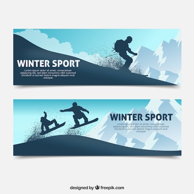 Winter sports concept banners with\ silhouettes
