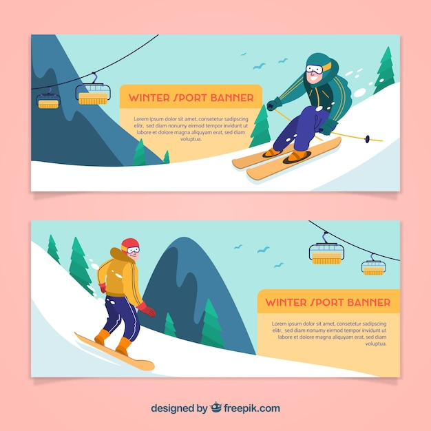 Winter sports concept banners with\ skiers