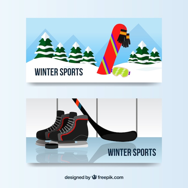 Winter sports concept banners with snowboard\ and ice hockey
