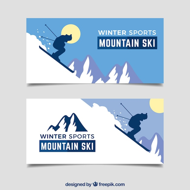 Winter sports concept banners with steep\ mountain