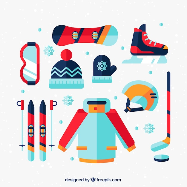 Winter sports equipment in flat design