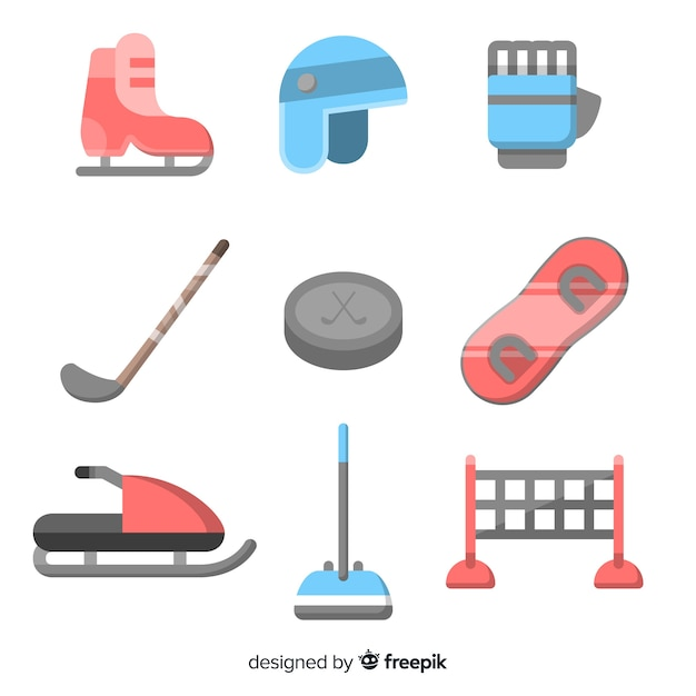 Winter sports equipment set Free Vector