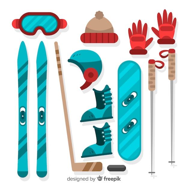 Winter sports equipment Free Vector