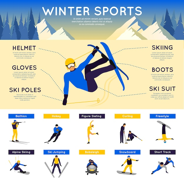 Winter sports infographics Free Vector