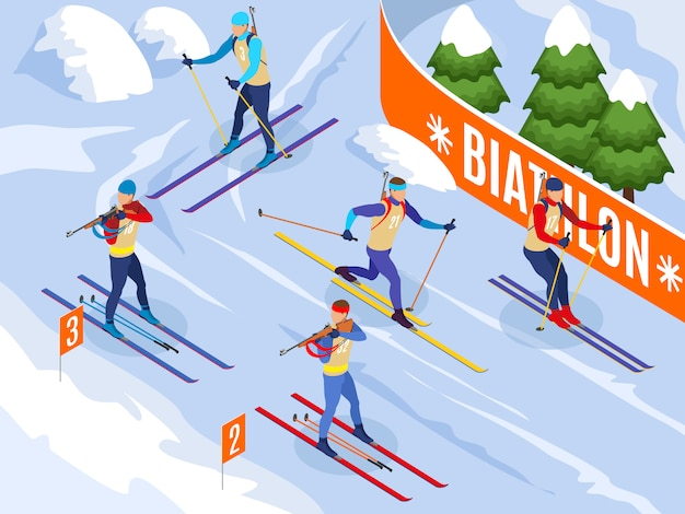 Winter sports isometric  illustrated athletes on ski participating in biathlon competitions Free Vector