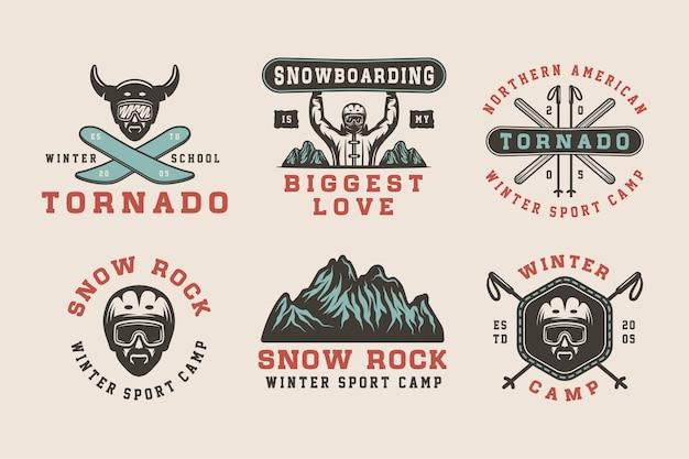 Winter sports logos, badges, emblems Premium Vector