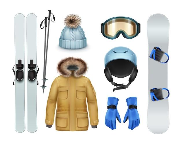 ウィンタースポーツ用品とアパレル:毛皮のフード、ズボン、手袋、ニット帽、ゴーグル、ヘルメット、スキー、スティック、白い背景で隔離のスノーボード正面図と茶色のコート Premiumベクター
