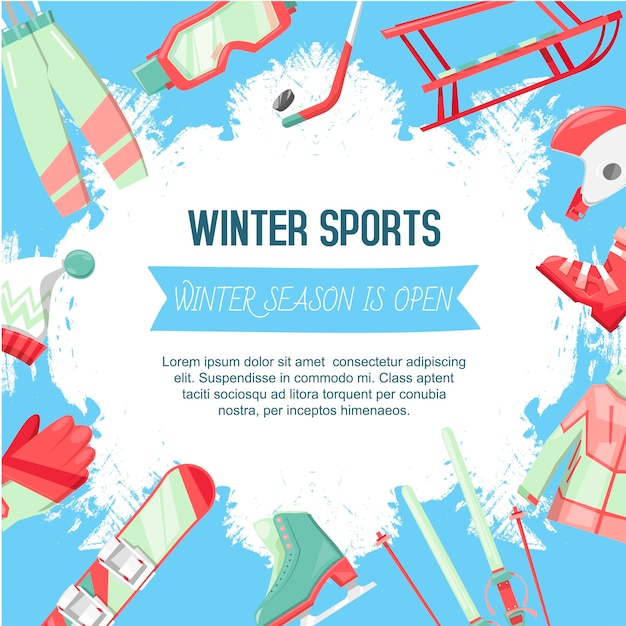 Winter sports template illustration Premium Vector