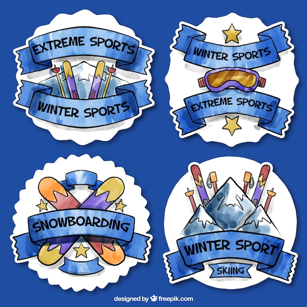 Winter sports watercolor stickers pack