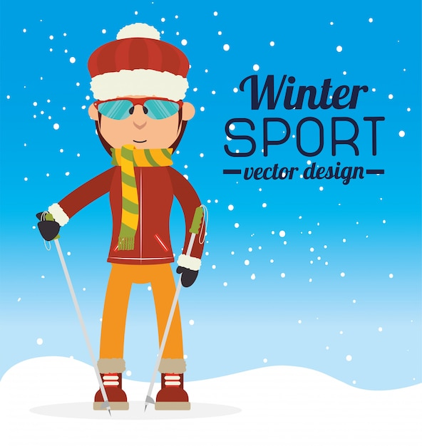 Winter sports and wear accesories Premium Vector
