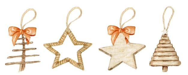 冬の星のクリスマスの木製の装飾と弓のセット。 Premiumベクター