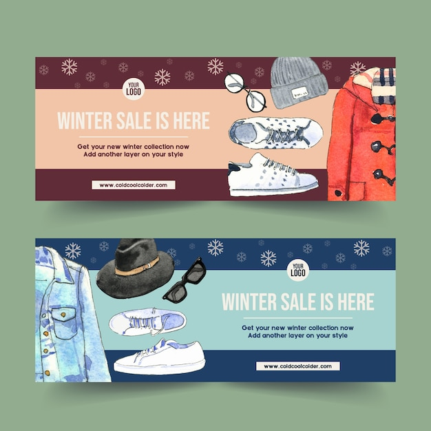 Winter style banner design with wool hat, denim jacket, sneakers watercolor illustration. Free Vector