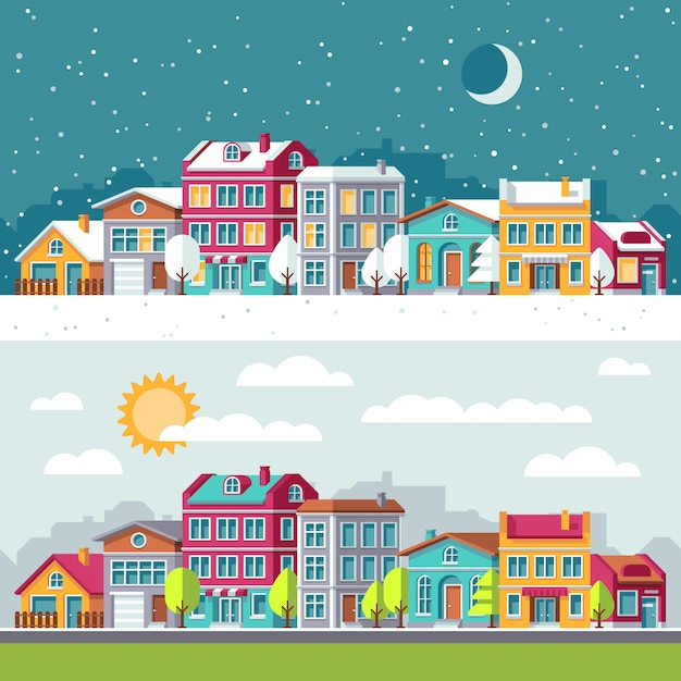 Winter and summer landscape with city houses flat vector illustration. building cityscape architecture town street Premium Vector