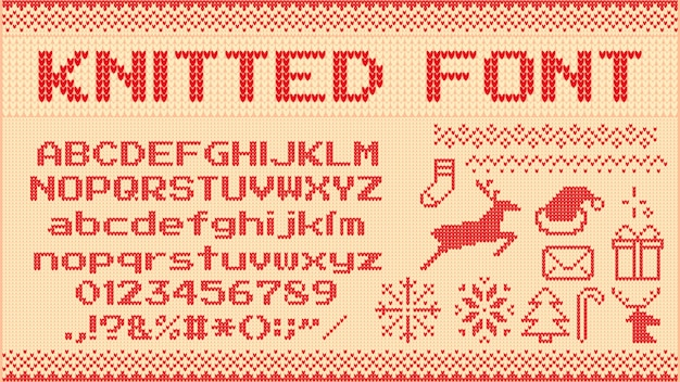 Premium Vector Winter Sweater Font Knitted Christmas Sweaters Letters Knit Jumper Xmas Pattern And Ugly Sweater Knits Illustration Set