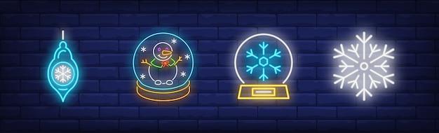 Winter symbolss symbols set in neon style Free Vector