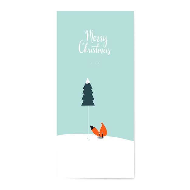 Winter themed postcard design vector Free Vector