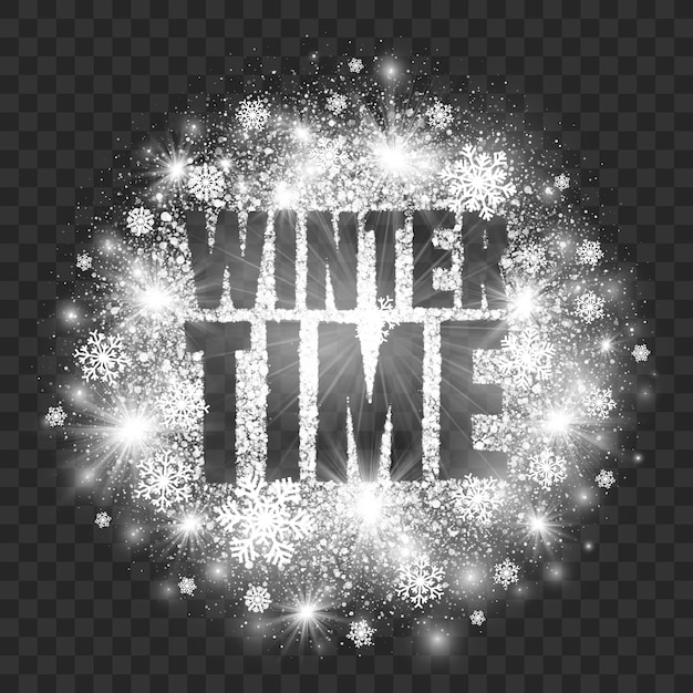 Winter time abstract illustration transparent background Premium Vector