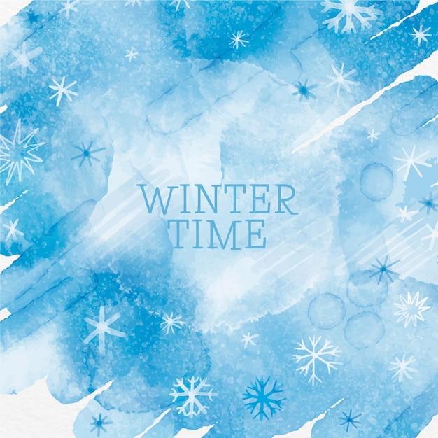 水彩絵の具で冬の背景 無料ベクター