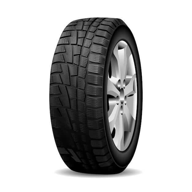 Winter tire, realistic wheel tyre chrome rim. Premium Vector