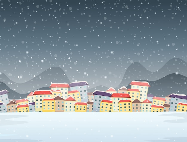 Winter town night background Free Vector