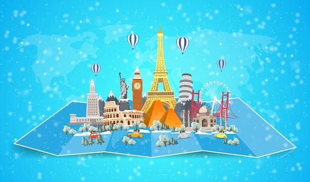 Зимнее путешествие по миру. рождественские каникулы. дорожное путешествие. большой набор известных достопримечательностей мира. время путешествовать, туризм, летний отдых. различные виды путешествий. плоский дизайн Premium векторы