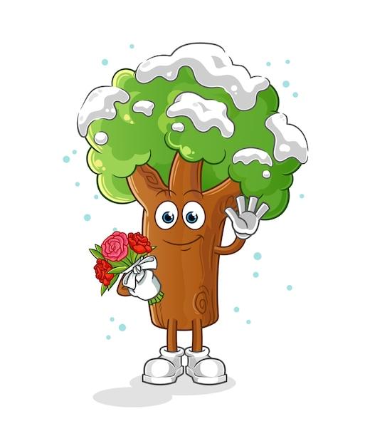Premium Vector Winter Tree With Bouquet Mascot Cartoon Cartoon tree png is about is about mascot, cartoon, character, tree, plants. https www freepik com profile preagreement getstarted 11690538